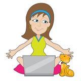 Happy Laptop Lady Royalty Free Stock Photos