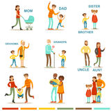 Happy Large Family With All The Relatives Gathering Including Mother, Father, Aunt, Uncle And Grandparents Illustrations Royalty Free Stock Photography