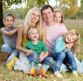 Happy large family in autumn Royalty Free Stock Photo