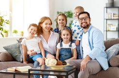 Happy large family mother father and children   at home royalty free stock photo