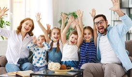 Happy large family mother father and children   at home royalty free stock photos