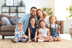 Happy large family mother father and children   at home royalty free stock images