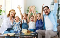Happy large family mother father and children   at home royalty free stock image