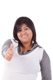Happy large  latin woman, with thumb up Royalty Free Stock Photos