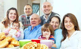 Happy large three generations family Royalty Free Stock Photo