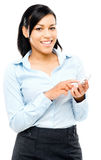 Happy latin american business woman mobile phone isolated white Stock Photo
