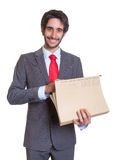 Happy latin businessman with file Royalty Free Stock Photos