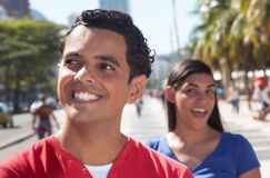 Happy latin couple in the city Royalty Free Stock Image