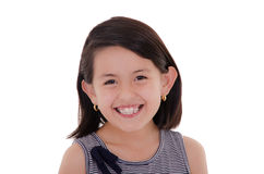 Happy latin girl portrait smiling - isolated over Royalty Free Stock Images