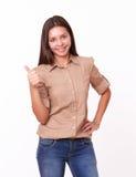 Happy latin woman with ok thumb Stock Photos