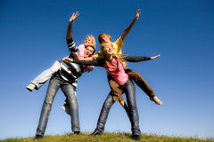 Happy laugh young team. Active Royalty Free Stock Images