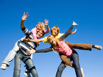 Happy laugh young team. Active Royalty Free Stock Image