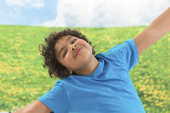 Happy laughing boy on green grass background Stock Image
