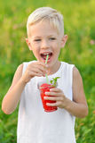 Happy laughing boy holding drinking a glass of red fresh juice watermelon. Summer time. Healthy lifestyle. Funny cute kid Royalty Free Stock Photos