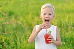 Happy laughing boy holding a glass of red fresh juice watermelon. Summer time. Healthy lifestyle. Funny cute kid Stock Photo