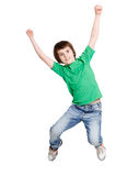 Happy laughing boy jumping on white isolated background Royalty Free Stock Images