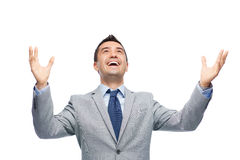 Happy laughing businessman in suit Royalty Free Stock Photography
