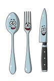 Happy laughing cartoon cutlery set Stock Photo