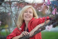 Happy laughing Caucasian blond woman with long hair near blossoming plum cherry tree Royalty Free Stock Images