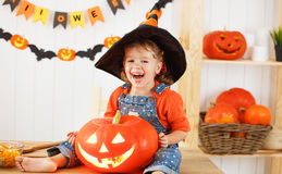 Happy laughing child girl in a witches hat cut a pumpkin for Hal Royalty Free Stock Images