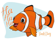 Happy Laughing Clown Fish for Fools' Day, Vector Illustration Stock Images