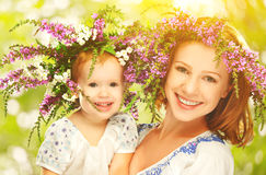 Happy Laughing Daughter Hugging Mother In Wreaths Of Summer Flow Royalty Free Stock Photo