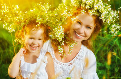 Happy laughing daughter hugging mother in wreaths of summer flow. Happy laughing family, daughter hugging mother in wreaths of summer flowers in nature Royalty Free Stock Photo