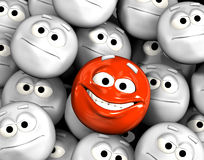 Happy laughing emoticon face. Among other grey, neutral, indifferent faces royalty free illustration
