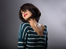 Happy laughing enjoying young woman with short hair style in fas Royalty Free Stock Images
