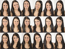 Happy and laughing faces. Series of head portraits of a happy and laughing natural young woman Stock Photography