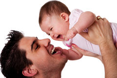 Happy Laughing Father And Baby Daughter Royalty Free Stock Photo