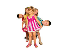 Happy laughing kids playing and dancing. Stock Photo