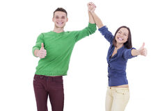 Happy laughing Loving couple showing ok sign Stock Photo
