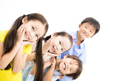 Happy and laughing small kids. On  white background Royalty Free Stock Photos