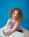 Happy Laughing Smiling Child with Easter Bunny Royalty Free Stock Photography