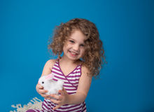 Happy Laughing Smiling Child with Easter Bunny Royalty Free Stock Photos