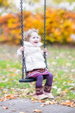 Happy laughing toddler girl playing on swing Royalty Free Stock Photo