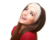 Happy laughing woman looking up isolated Royalty Free Stock Image