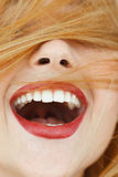 Happy laughing woman with red hair close-up. Portrait of unrecognizable carroty girl with wide perfect smile. Fun, gladness, joy concept Stock Photo
