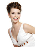 Happy laughing young beautiful woman stock photo