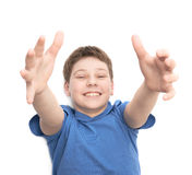 Happy laughing young boy isolated Royalty Free Stock Images
