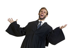 Happy lawyer. Dressed with a toga Stock Images