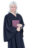 Happy lawyer looking at camera and holding law code Stock Photography