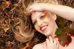 Happy leaf girl Royalty Free Stock Image