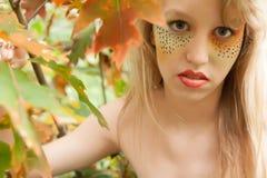 Happy leaf girl Stock Photo