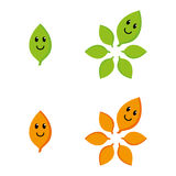 Happy leaf. A set of happy leaf icons vector illustration