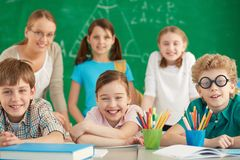 Happy learners Stock Image