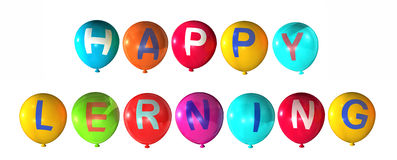 Happy learning. With colorful balloons Stock Images