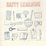 Happy learning doodle set. Doodle drawings about education and learning on paper background Stock Photos