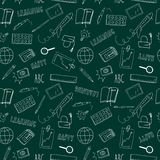 Happy learning green doodle seamless pattern. Doodle seamless background imitating school board about education and learning  including  plane; ruler; pencil Stock Photography